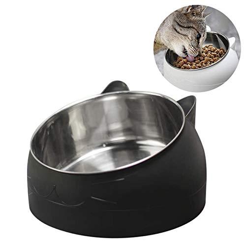 TaimeiMao Haustier Fressnapf,Hundenapf,Katzennäpf Edelstahl rutschfest Schüssel,Fressnäpfe für Katzen,Gekippter Erhöhter Fressnapf,15 Grad Geneigte Plattform,für Katze Welpe Futter und Wass