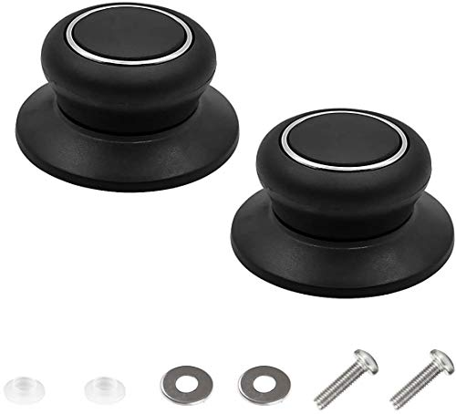 2 Pack Pot Lid Top Replacement Knob - Silicone Glass Saucepan Casserole Kettle Cover Knobs. Kitchen Cookware Universal Replacement Pan Lid Holding Handles. (Black)