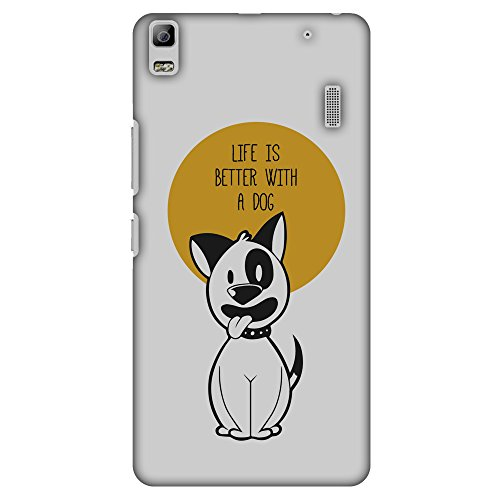 AMZER Slim Handcrafted Designer Printed Hard Shell Case for Lenovo K3 Note, A7000 Turbo - Life Is Better With A Dog