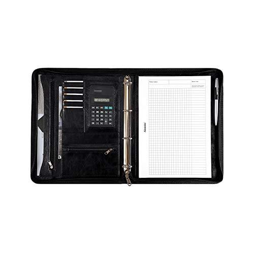 Alassio 30065 - Ringbuchmappe MASSA im DIN A4 Format, Schreibmappe aus Lederimitat, Dokumentenmappe in schwarz, Mappe ca. 34 x 27 x 4 cm, mit Taschenrechner