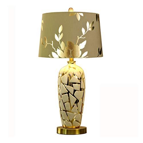 Lámparas de mesita de noche de cerámica, lámpara de mesa para dormitorio europeo, salón, dormitorio, lámpara de mesa, lámpara de mesa de oro, lámpara de escritorio LED (tamaño: L)
