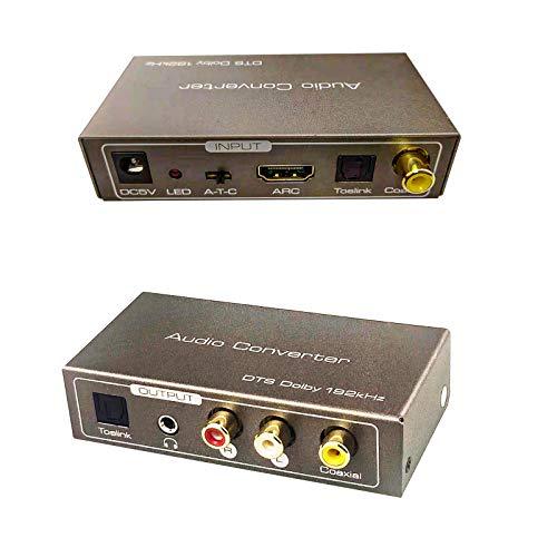 192 kHz Multifunktional Audio-Konverter HDMI ARC oder Toslink (Optisch) oder Koaxial zu Toslink (Optisch) + Stereo L/R + 3,5 mm Klinke + Unterstützung für Koaxialausgang Dolby/DTS