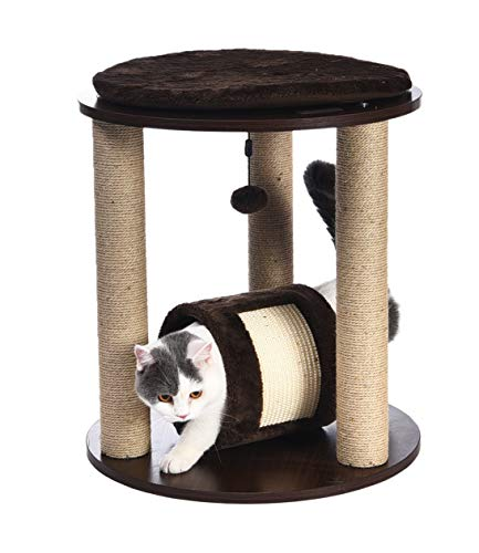 Amazon Basics Triple Tower Wooden Cat Cando Furniture With Scratching Post And Tunnel - 20 x 20 x 22 Inches