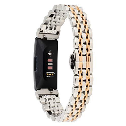 Tencloud Armbänder Kompatibel mit Fitbit Inspire 2 Armband, Metall Edelstahl Verstellbarer Ersatz Business Armband Armbanduhr Zubehör Nur für Inspire 2 Fitness Tracker (Silber Gold)