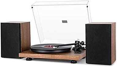1byone Wireless Turntable HiFi System with 36 Watt Bookshelf Speakers, Patend Designed Vinyl Record Player with Magnetic Cartridge, Wireless Playback & Auto-Off