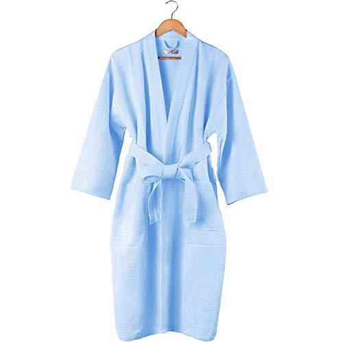 Katoen Casual Robe Star Hotel Club Yukata Mannen en Vrouwen Sweat Sauna Pak Lichtblauw@Lichtblauw