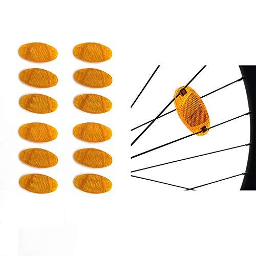 12 Piezas Reflector de Radios de Bicicleta, Reflector de Bicicleta para Ruedas, Kits de Reflector de Radios de Bicicleta Naranja, para Rueda de Bicicleta Accesorio de Seguridad de Conducción Nocturna