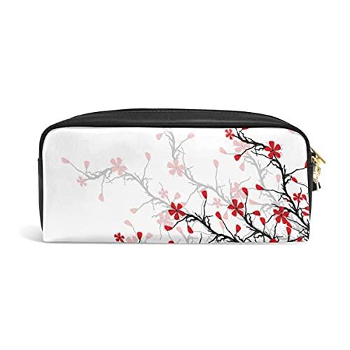 Lindo estuche de lápices japonés flor de cerezo Sakura estuches para bolígrafos organizador de cuero de PU bolsa de maquillaje Comestic bolsa de maquillaje, regalos de regreso a la escuela