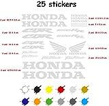Kit Pegatina Adhesivo Moto Vinilo 7 años Troquelado Compatible con Honda CBR 600 RR Contiene 25 Pegatinas (Plata)