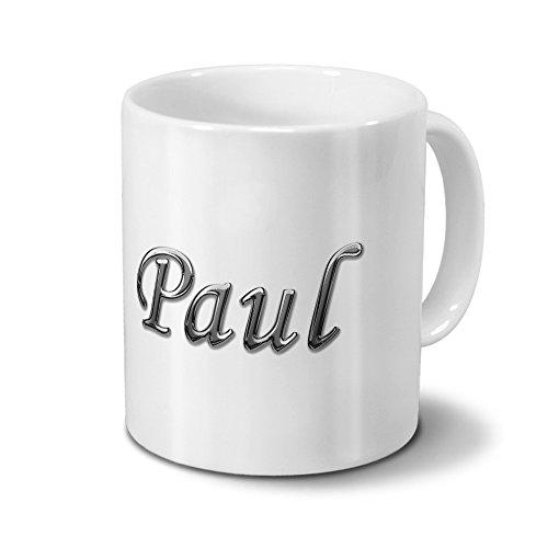 Tasse mit Namen Paul - Motiv Chrom-Schriftzug - Namenstasse, Kaffeebecher, Mug, Becher, Kaffeetasse - Farbe Weiß