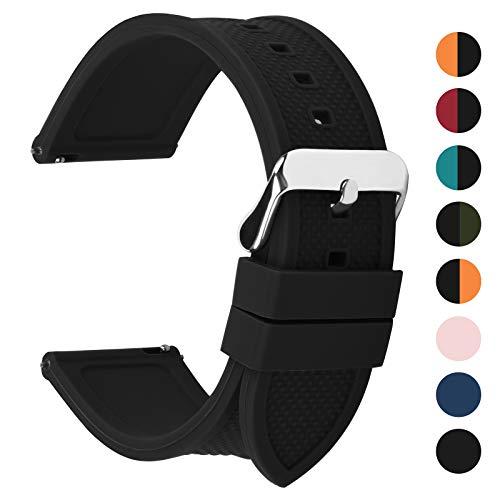 Fullmosa 18mm 20mm 22mm 24mm Bracelet Montre en Silicone Souple, 8 Couleurs Rainbow Bracelet de Montre Caoutchouc de Silicone à Libération Rapide, 22mm Noir
