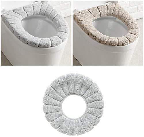 Longsing Coprisedile per WC Copriwater Tessuto Bathroom Toilet Seat Cover Tappetino per WC Universale in Tessuto Estensibile (Beige + Grigio)