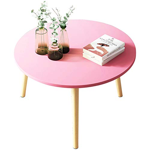 Home Decoration Bedroom Balcony Round Side Table Modern Coffee Table for Home and Office Decoration Popular Coffee Table (Color : Pink, Size : 60x60x42cm)