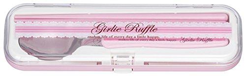 小森樹脂 箸 スプーン ツイン ガーリーワッフル 箸・スプーンセット ピンク 18cm コンパクトで携帯に便利 日本製