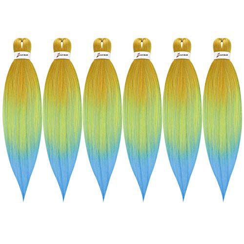 K&G 26 Inch 6 packs Pre-stretched Braiding Hair Easy Braid Professional Itch Free Synthetic Fiber Corchet Braids Yaki Texture Hair Extensions Braid Hair(Yellow/Green/Blue)