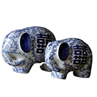 風水象の彫像のペアは、中国の青と白の陶器の置物の家とオフィスを装飾し、富と幸運を引き付け、最高の贈り物、B