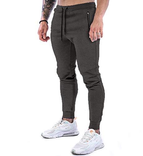 VZF Hosen Herren Jogginghose Jogger Hose Baumwolle Fitness Sporthose Slim Fit Hose Freizeithose Trainingshose Joggers (Grau, S)