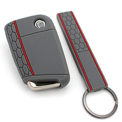 Schlüssel Hülle + Keytag VB für 3 Tasten Auto Schlüssel Silikon Cover von Finest-Folia (Aschgrau Rot)