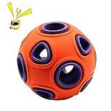 BDUK Juguete interactivo para perro con campana pequeña, bola de goma duradera, bola de golosinas, juguete de juguete de juguete con doble capa para perros jugando persiguiendo masticar (naranja)