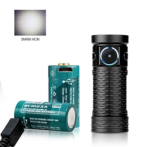OLIGHT S1 MINI BATON, Mini Lampe Torche Rechargeable Compact 600 Lumens 90 CRI Deux piles RCR123A Intégrée et d'un Port Micro-USB pour Activité Outdoor Camping Rando et Balade Nocturne etc