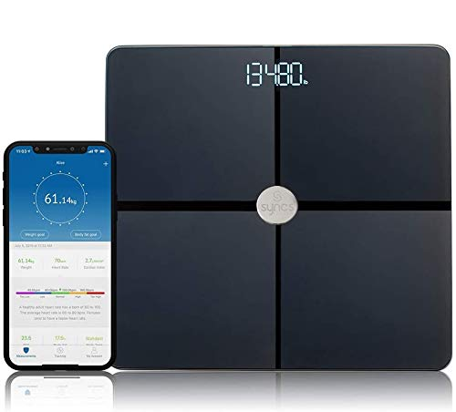 Syncs Smart Body Digital Weight Scale with Heart Rate Monitor & 15 Body Health Index - All Surface - Black