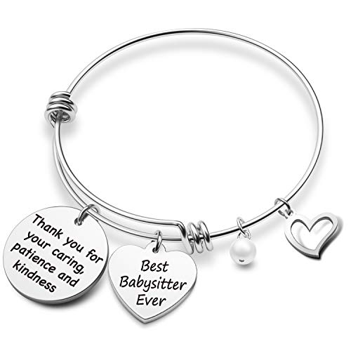 EIGSO Babysitter Appreciation Gifts Babysitter Bracelet Gift Thank You for Your Caring Best Babysitter Ever Thank You Gifts Nanny Gift Daycare Provider Gifts(Babysitter Ever BR 2)