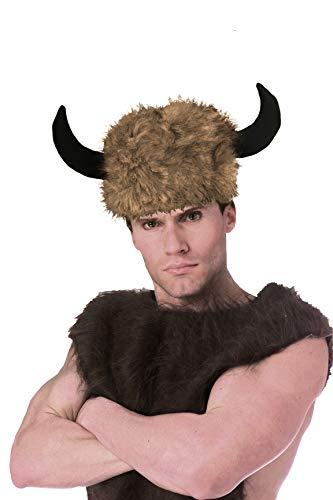shoperama Kunstfell Mütze mit Büffel Hörnern Wikinger Faun Widder Pelz-Kappe Cosplay Fantasy JGA Kostüm-Zubehör
