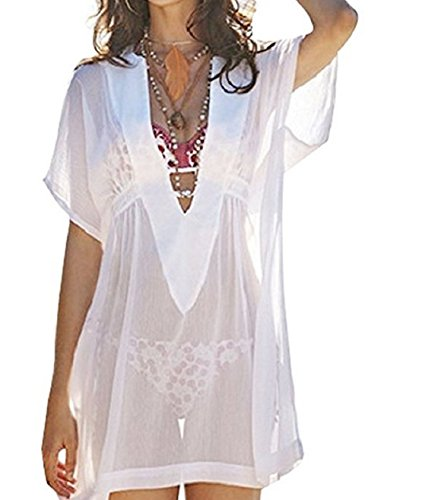 Wander Agio Beach Bikini Covers Sexy Perspective V-Neck Dresses Cover Up White