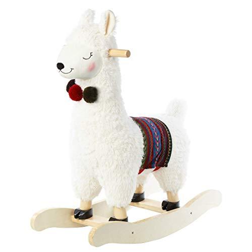 JOLIE VALLÉE TOYS & HOME Alpaka Plüsch Schaukelpferd Spielzeug Schaukeltier Holz Geschenk für Kinder 1,2,3 Jahre