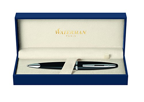 Waterman Carène Contemporary Rollerball Pen, Gloss White & Graphic Gunmetal with Palladium Trim, Fine Point with Black Ink Cartridge, Gift Box
