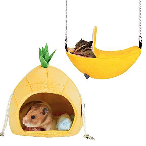 パイナップルの形ハンモック 小動物ベッド ベッドルーム ハムスター モモンガ のハンモック可愛いフルーツデザイン ハムスター 暖かい巣 ラットのハンモック ケージに掛ける 防寒 冬用