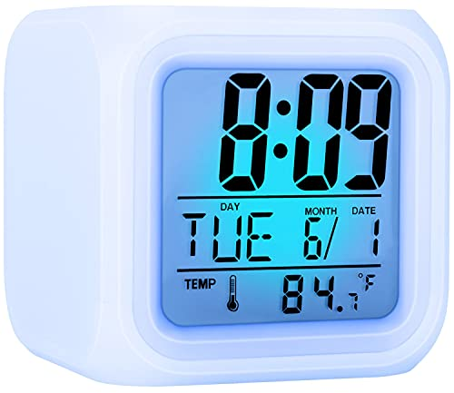 Kids Alarm Clock, Digital Alarm Clocks with Snooze, 7 Color Night Light, Alarm Clock for Kids, Wake Up Digital Clock for Room Decor, Gift for Boys and Girls