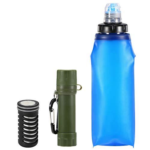 pedkit Filtro Agua Botella 600 ml, Botella de Filtro de Agua Plegable de TPU con Filtro de Agua Paja 2000L Sistema de Filtración de Agua para Supervivencia Acampada Emergencia