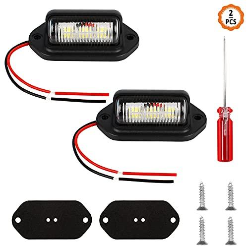Chudian 2Kit Luz de Matrícula LED Matrícula Luces de Matrícula Luces de Placa de Matrícula, Lámpara de Luz para Remolques con Tornillos y Destornillador para Coche Camión (12V/24V, 0.2A)