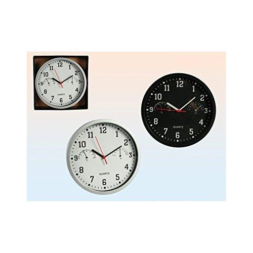 Wanduhr Kunststoff - Uhr mit Thermometer und Hygrometer - DM ca. 23cm (Silber)