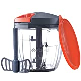 Artikel Chopper & Blender with Storage Lid | Chops Vegetables, Nuts & Fruits | Blends Flour | Egg Beater | Meat Mincer | Grey & Orange | Large - 900 ml