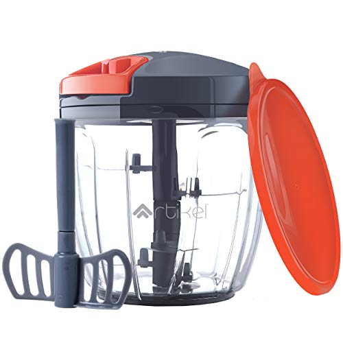 ARTIKEL Chopper manuale con coperchio di archiviazione | Pull Food Processor con Blending Blade | Costolette di cipolle, verdure, noci e frutta | Frullino per le uova | Tritacarne | Grande - 900 ml