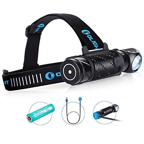 OLIGHT PERUN 2 LED Linterna Frontal Lámpara de Cabeza USB Recargable de 2500 Lúmenes,166M MAX.IPX 8 Impermeable,Ideal para Trabajo y Actividades Exteriores como Pescar Correr y Camping