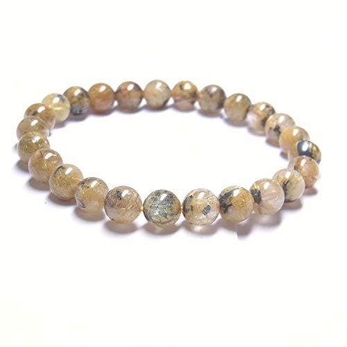 現品一点物 太陽放射ルチル ブレスレット 金針水晶 数珠 7ミリ PTHR24 金運