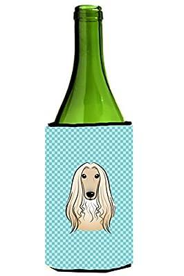 Caroline's Treasures BB1182LITERK Checkerboard Blue Afghan Hound Wine Bottle Koozie Hugger