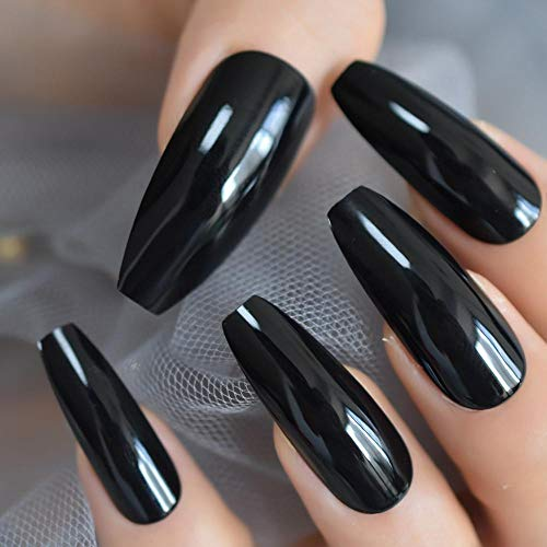 CLOAAE Extra long coffin nails shiny black fake nails long ballerina nails for party full cover artificial tips adhesive with tail