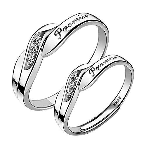 Janly Clearance Sale Anillos para mujer, 2 anillos para parejas, anillo de cobre fresco con apertura de nudo ajustable, anillo de cobre, conjuntos de joyas, día de San Valentín (F)