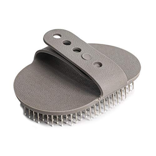 Geney - Cepillo masajeador para limpieza de animales domésticos, con hebilla ajustable, cepillo ajustable para aseo de perros de compañía, para pelo largo y mediano corto, grueso o rizado