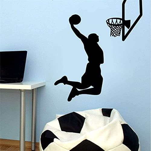Arte de la pared de vinilo extraíble deportes pegatinas de pared Nba jugador de baloncesto deportes pegatinas de pared decoración del hogar calcomanías 53X60cm