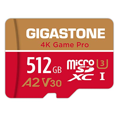Gigastone 512GB Micro SD Karte, 4K Game Pro, Nintendo Switch kompatibel, A2 Run App, 4K Video Recording, R/W up to 100/80MB/s, Micro SDXC UHS-I A2 V30 Class 10