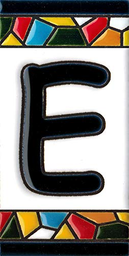 Número y letras para casa, Cerámica Pintada a Mano 5 x 11 cm md trencadis, Grabado y Cerámica Española (Letra E)