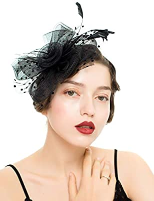 MAKELIFE Feather Fascinator Hair Clip Women Bowknot Kentucky Derby Cocktail Wedding