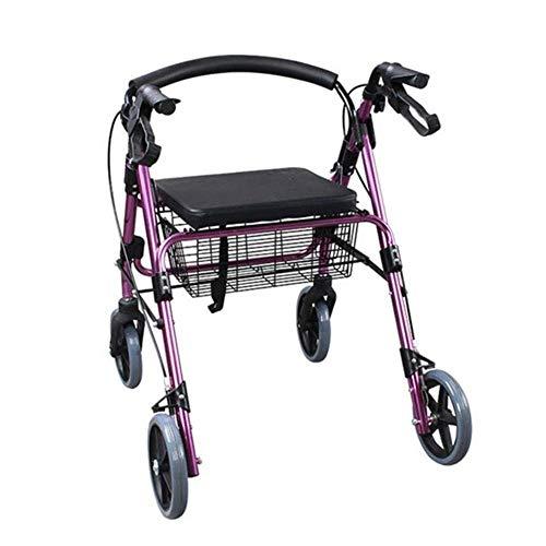 YWAWJ Caminante Tracción a Las Cuatro Ruedas Andador Andador con Fold up Desmontable Trasera de la Ayuda, for los Ancianos de Cuatro Ruedas, carretillas Caminante Ligero del Carrito de Compras