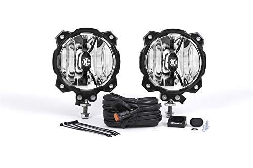 KC HiLiTES 91303 Gravity LED Pro6 Single SAE/ECE Driving Beam with Wiring Harness and Illuminated LED Light Switch - Pair Pack System