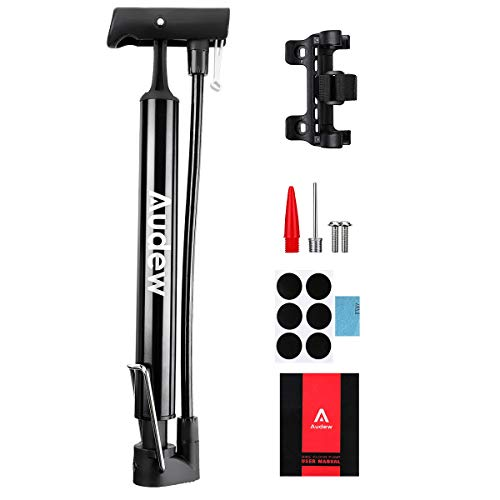 Audew Portable Bike Pump - 12Inches Lightweight Bicycle Air Pump with Folding Handle - 160Psi Presta and Schrader Valve for Mountain Road BMX Bike, Ball, Inflatable Toy Including Puncture Repair Kit
